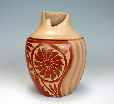 Jemez Pueblo American Indian Pottery Etched Melon Vase - Emma Yepa
