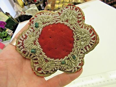 Antique~Beaded~1800's~Native American~Iroquois~Pin Cushion~Flower Shape~Felt