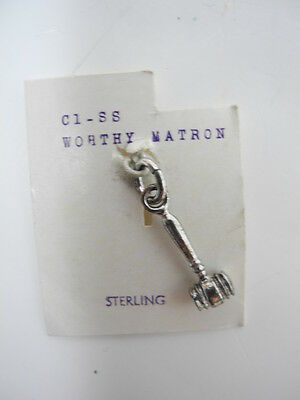 Vintage Order of the Eastern Star Worthy Matron C1-SS Sterling Charm on Card