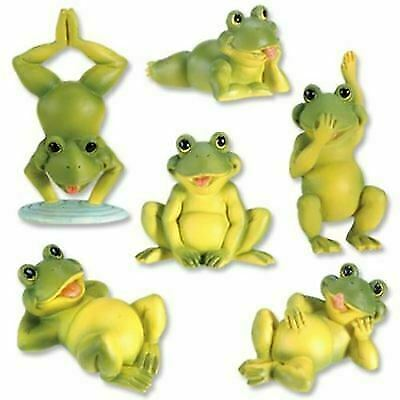 Set of Six Green Frogs Playing Baby Frog Collectible Statue Small Figurine