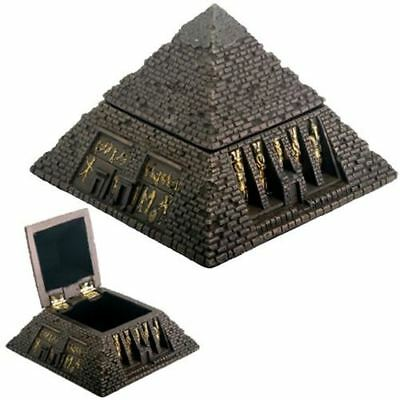 Egyptian Small Bronzed Pyramid Trinket Box Egypt Jewelry Container