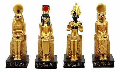 Egyptian Gods Horus Osiris Sekhmet And Isis Seated On Thrones Figurine Set of 4