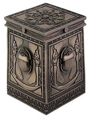 Egyptian Bronzed Scarab Box Collectible Figurine Container
