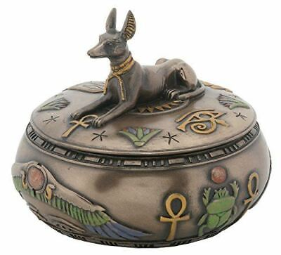 3.75 Inch Round Canine Anubis Box with Ankh and Scarab Symbols