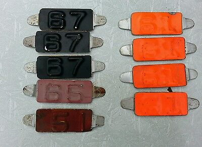 9- License Plate Tabs From 1951-1967