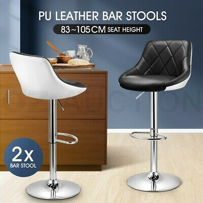 2x PU Leather Bar Stool Kitchen Dining Chair Padded Seat BarStool Gas Lift Black