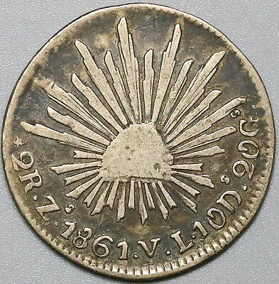 1861-Zs MEXICO Silver 2 Reales Coin (17040116R)