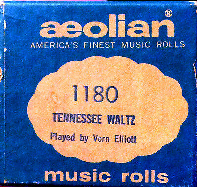 AEOLIAN Music Rolls TENNESSEE WALTZ 1180 J. Lawrence Cook Player Piano Roll