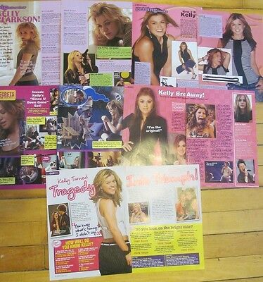 Kelly Clarkson, Lot of FIVE Two Page Pinup Clippings
