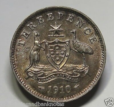 Australia - 1910 King Edward VII Threepence -  about uncirculated