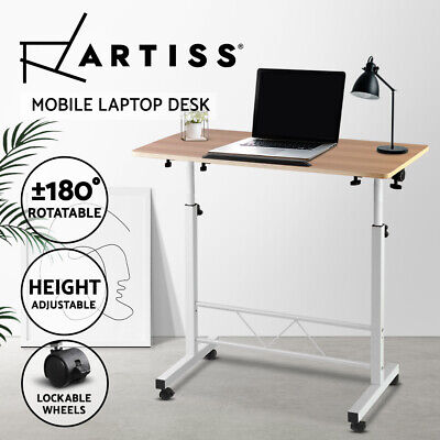 Portable Adjustable Mobile Wooden Laptop Study Desk Sofa Bed Side Table Stand BK