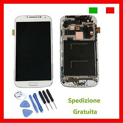 DISPLAY LCD TOUCH SCREEN FRAME per SAMSUNG  BIANC GALAXY S4 i9505 MARINO SCHERMO
