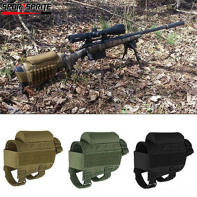 Tactical Rifle Gun Buttstock Shell Holder Cheek Rest w/ Ammo Pouch Carrier Case