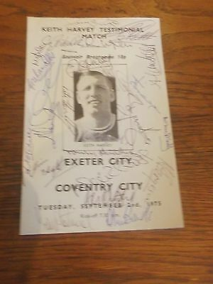 Exeter City Keith Harvey Testimonial Programme Signed By The Teams