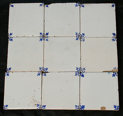 "Antique Vintage 9 Blue & White Small Ceramic Tiles 3"" square."