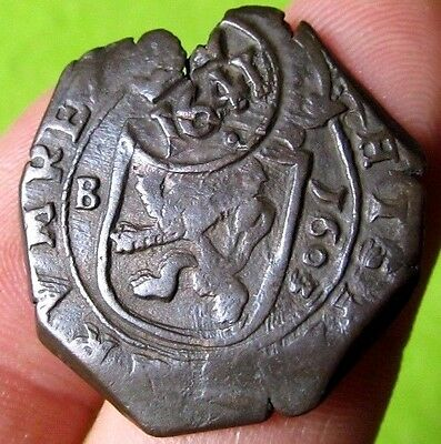 awesome 1603 PIRATE COB SPANISH 8 Maravedis Colonial Coin Felipe PHILIP III