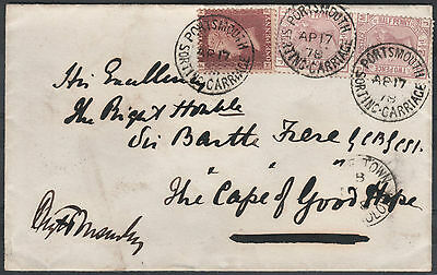 1878 Cover To Cape Of Good Hope Portsmouth Sorting Carriage Henry Ponsonby
