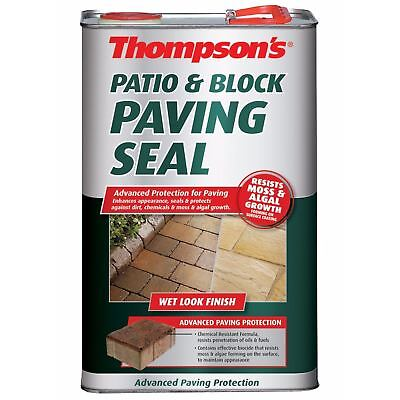 Thompson's Patio & Block Paving Path Seal Protector 5L – Wet Look Shine Finish