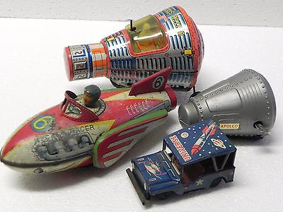 Rocket racer Universe Jeep Apollo USA Capsule Red China Japan space tin toy LOT