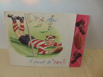Rugby themed Birthday Card 1950s boys playing rugby scoring try