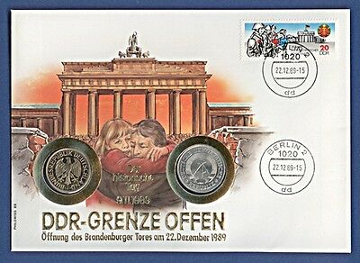 Numisbrief DDR-Grenze offen 1 Mark Ost 1982 A + West 1989 J Stempel 1989 NBA5/6a