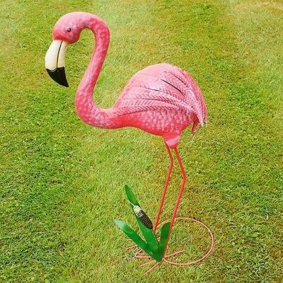Large Pink Metal Flamingo Garden Sculpture Hand Painted