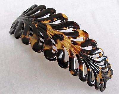Antique Victorian Large Hinged Faux Tortoiseshell Hair Comb - Leaf Design c1860