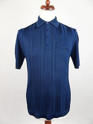 Vtg 1970S Blue Slim Fit Nylon Polo Shirt Mod Northern Soul -M- DZ64