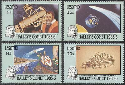 Lesotho 1986 Halley's Comet/Space/Science/Astronomy/Telescope 4v set (b7665)