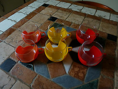 lot de 6Tasses à café /thé Rouge/ Jaune/ Orange Vintage