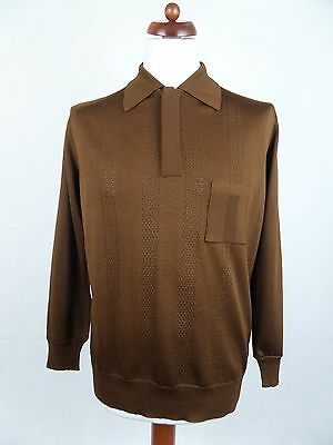 Vtg 70S Long Sleeve Brown Acetate Blend Polo Shirt Mod Northern Soul -M/L- DZ66