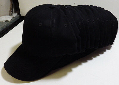 Wholesale LOT 12 BLACK Cotton Twill Baseball Hats Caps Blank No Graphics NEW