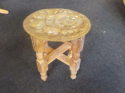 Antique Brass Floral Wall Plate With Wooden Folding Stand