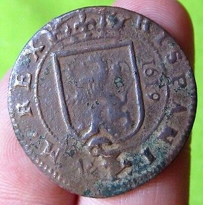 awesome 1619 PIRATE COB SPANISH 8 Maravedis Colonial Coin Felipe PHILIP III