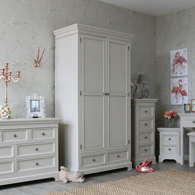 Grey painted wooden double wardrobe vintage chic country bedroom furniture