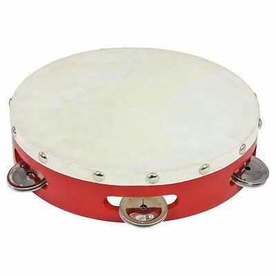 """Percussion Plus PP040 8"""" Wood Shell Tambourine with Goatskin Head in Red"""