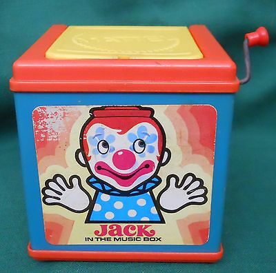 """Vintage 1976 Mattel Wind Up """"jack In The Music Box"""" Pop Up Plastic Toy Working"""