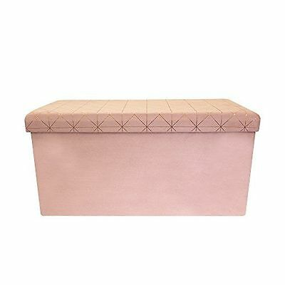 THE HOME DECO FACTORY - Coffre Banc [HD3428] [Rose] [76x76x37.5 cm] NEUF