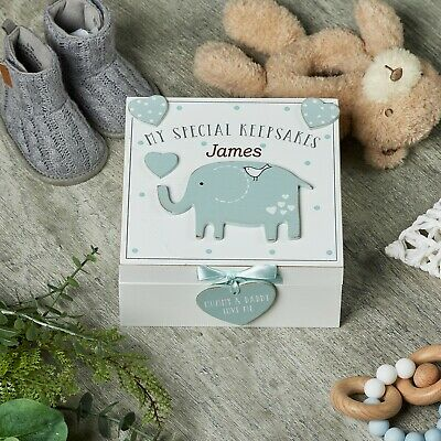 Personalised Baby Boy wooden Memories Keepsake Box Vintage Style CG1307B-PER