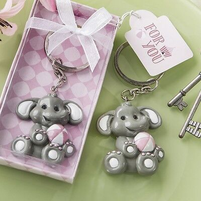 60 Adorable Pink Baby Girl Elephant Key Chain Baby Shower Christening Favors
