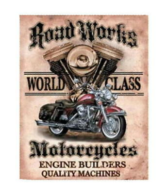 Metal - Tin Sign ROAD WORKS MOTORCYCLES Man Cave Garage Sign