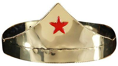 Gold Crown with Red Star Woman Costume Tiara Wonder Goddess Superhero Headpiece