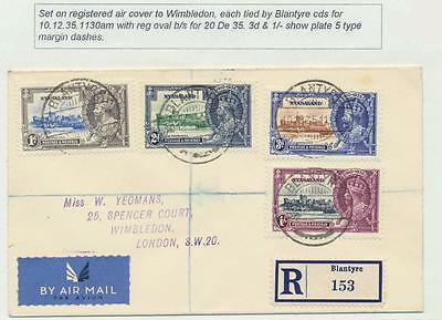 Nyasaland 1935 Silver Jubilee Set On Registered Cover To Uk+Var (See Below)