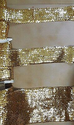 New Flat Gold Stretch Sequin Trim by the Yard Various Widths  Raw Goods