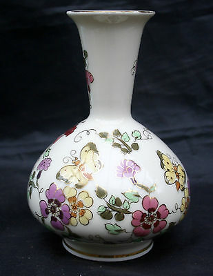 Zsolnay Hungary Porcelain Vase 25, enamelled decoration with gilded trim