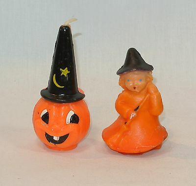 Vintage HALLOWEEN Gurley Candle and Wax Figure Jack o'Lantern and Witch Girl