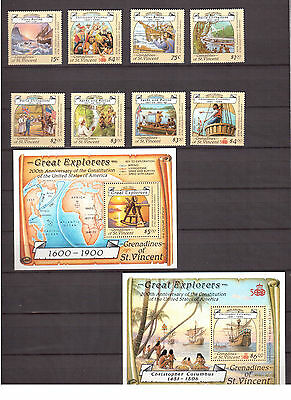 Grenadines Of St.vincent 1988 #596/605 Set + 2 S/s Mint Vf Nh Great Explorers !