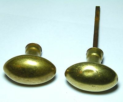 OLD PAIR ANTIQUE BRASS OVAL DOOR HANDLES KNOBS FRENCH? CONTINENTAL small spindle