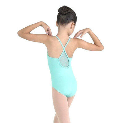 NWT Bloch Pistachio Cami Leotard Daisy Mesh Front & Back  Med Child 8-10 CL7637