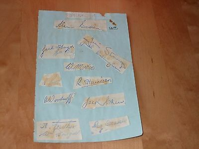 EARLY 1950's BURNLEY AUTOGRAPHS ON SHEET x 13 PLAYERS INC ALAN BROWN CAPTAIN